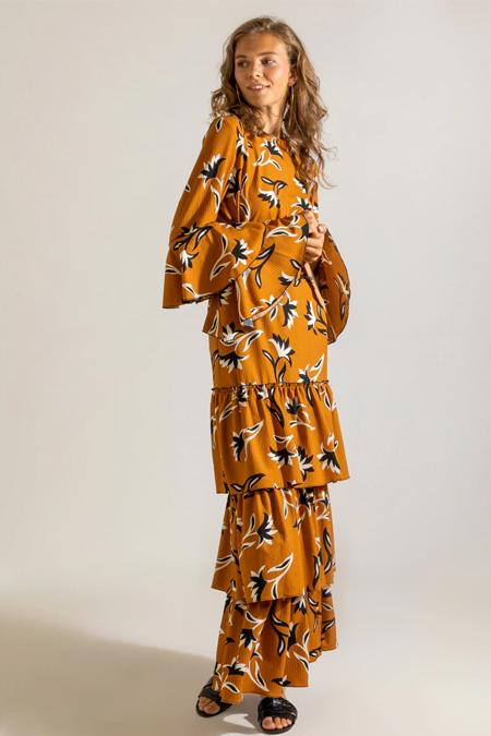 Muni Muni Hardal Desenli Bluz & Etek İkili Takım