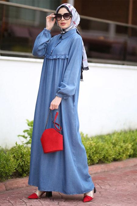 Neways Koyu Mavi Tensel Kot Elbise