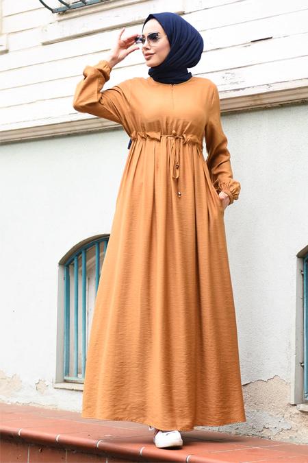 Neways Camel Belden Bağcıklı Elbise