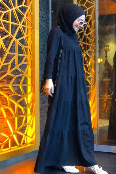 Neways Siyah Büzgülü Kot Elbise