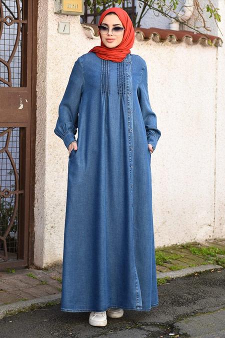 Neways Yandan Düğmeli Koyu Mavi Tensel Elbise