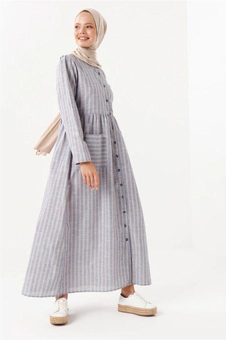 PHULL İndigo Çizgili Cep Detaylı Elbise