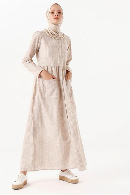 PHULL Çizgili Cep Detaylı Taş Rengi Elbise