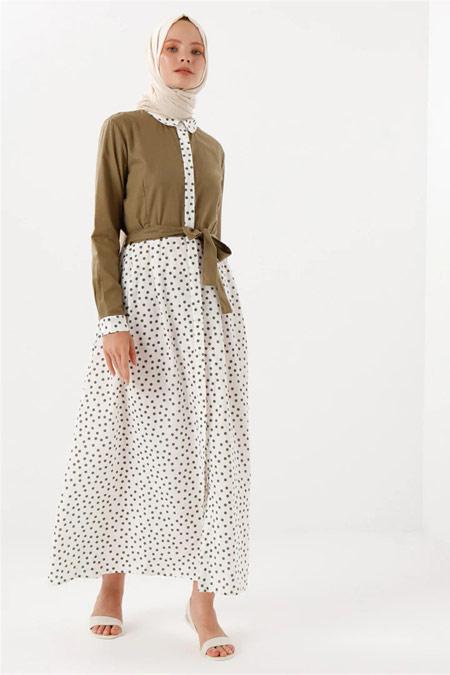 PHULL Puantiye Detaylı Haki Elbise