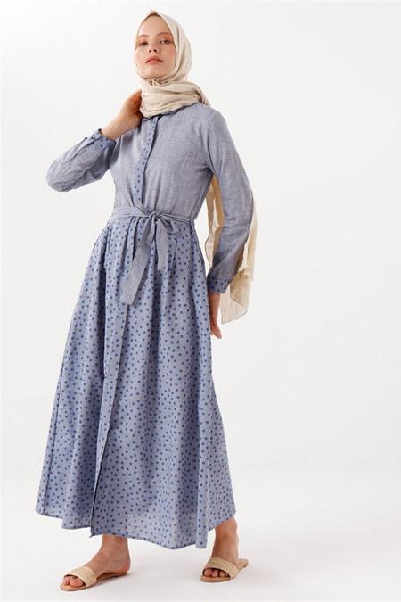 PHULL Puantiye Detaylı Mavi Elbise