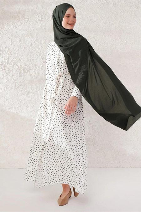 PHULL Puantiyeli Gömlek Haki Elbise