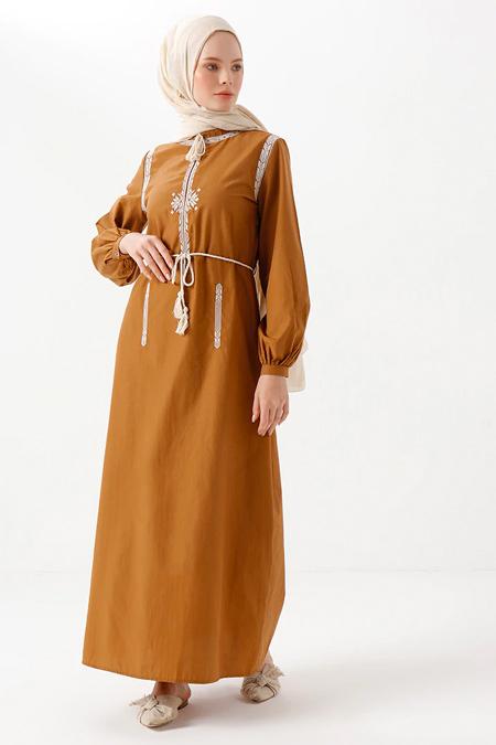 Phull Camel Nakış Detaylı Elbise