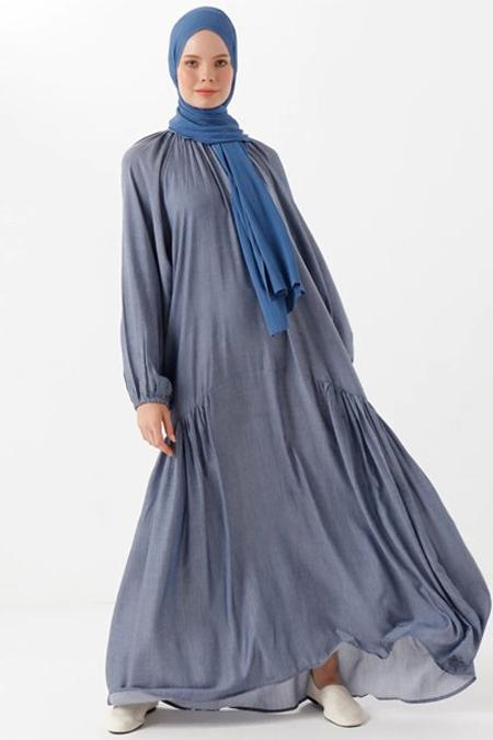 Phull Lacivert Yanları Büzgülü Elbise