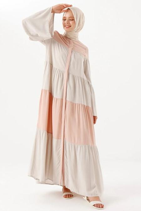 Phull Pembe Çok Renkli Elbise
