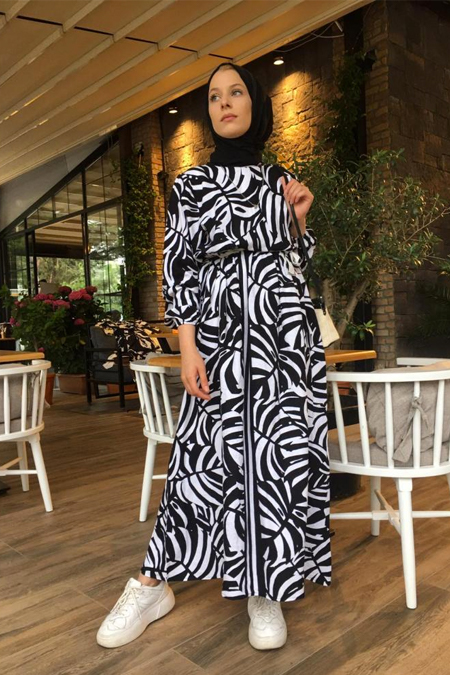 Rasedesign Siyah Beyaz Desenli Elbise