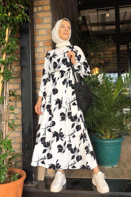 Rasedesign Siyah Beyaz Yaprak Elbise