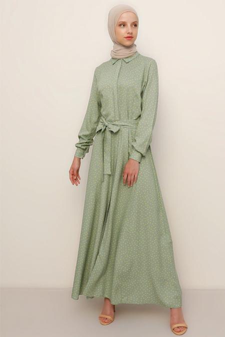 Refka Açık Yeşil Sarı Doğal Kumaşlı Desenli Elbise