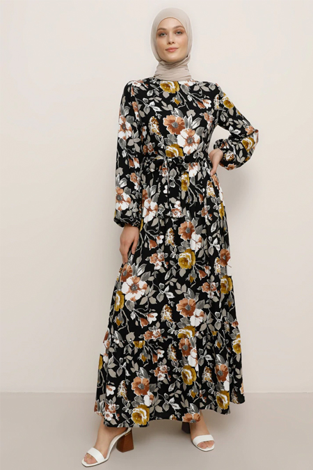 Refka Bej Doğal Kumaşlı Çiçekli Elbise