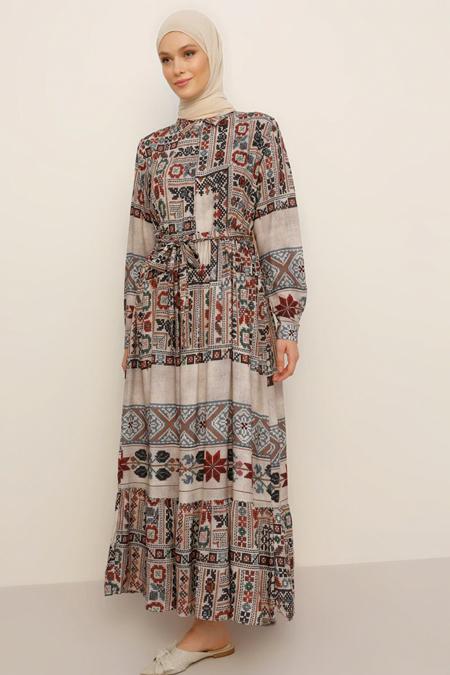 Refka Bej Doğal Kumaşlı Etnik Desenli Elbise