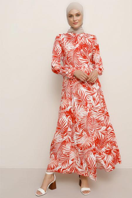 Refka Beyaz Kırmızı Doğal Kumaşlı Çiçekli Elbise