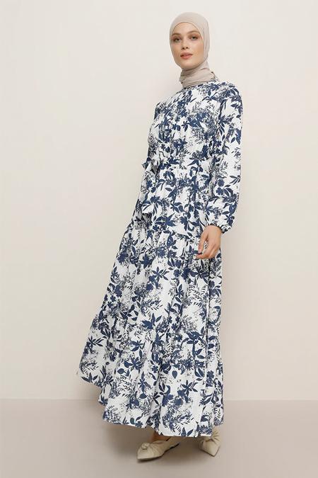 Refka Beyaz Lacivert Doğal Kumaşlı Çiçekli Elbise