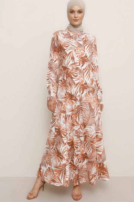 Refka Beyaz Somon Doğal Kumaşlı Çiçekli Elbise