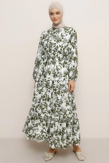 Refka Beyaz Yeşil Doğal Kumaşlı Çiçek Desenli Elbise