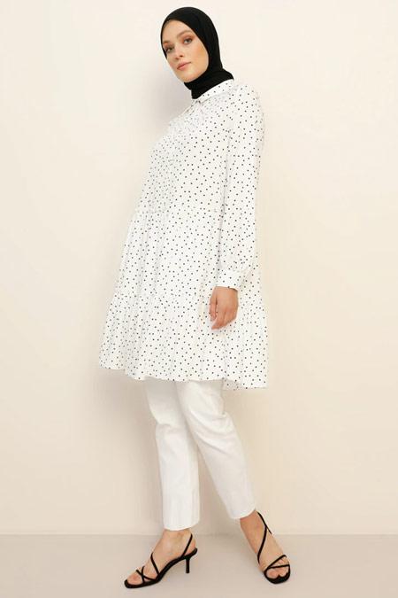 Refka Doğal Kumaşlı Puantiyeli Siyah Beyaz Tunik