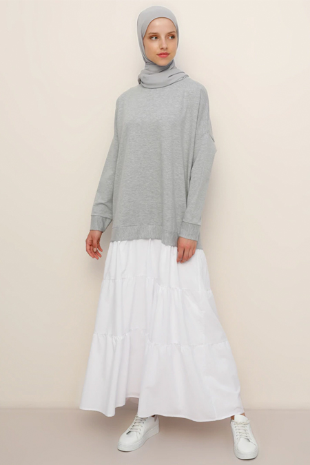 Refka Gri Melanj Beyaz Garnili Elbise