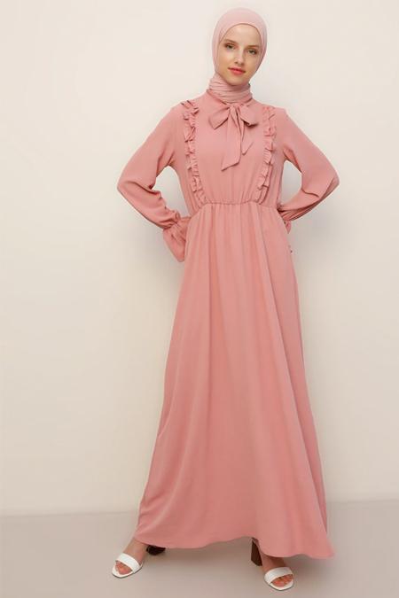 Refka Gül Kurusu Fırfır Detaylı Elbise