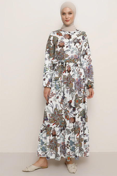 Refka Haki Beyaz Doğal Kumaşlı Çiçek Desenli Elbise