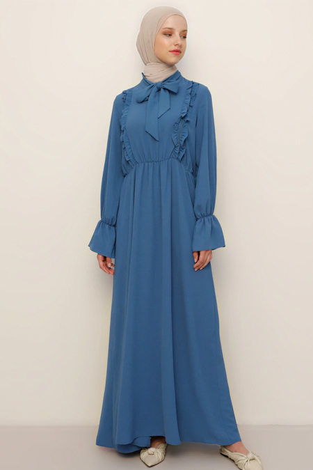 Refka İndigo Fırfır Detaylı Elbise