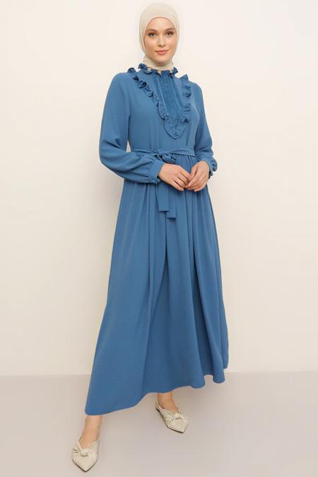 Refka İndigo Güpür Detaylı Elbise