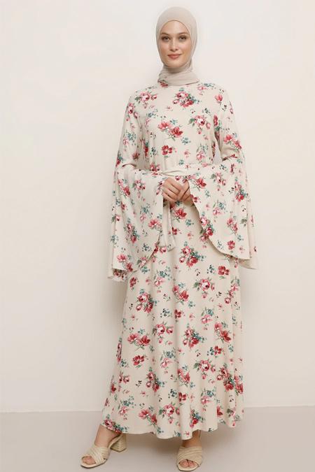 Refka Pembe Doğal Kumaşlı Desenli Elbise