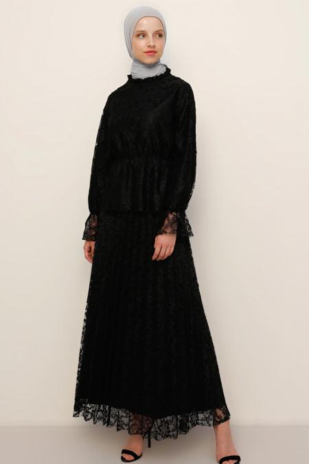 Refka Siyah Bluz & Etek Dantel İkili Takım