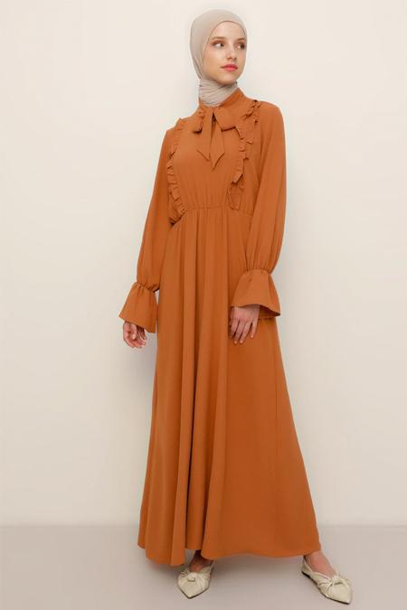 Refka Tarçın Fırfır Detaylı Elbise