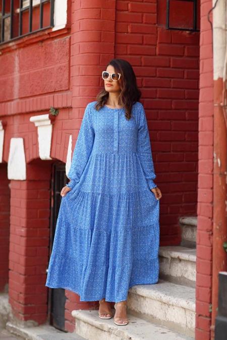 Rubysco Mavi Çiçek Desenli Elbise