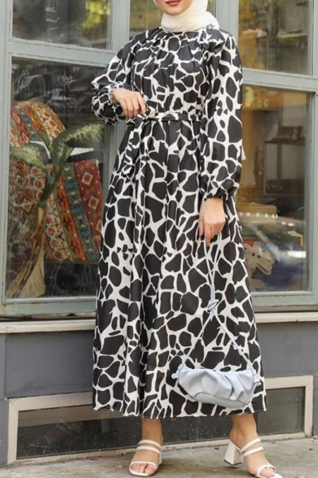 Sinem Düzgün Official Zebra Desen Elbise