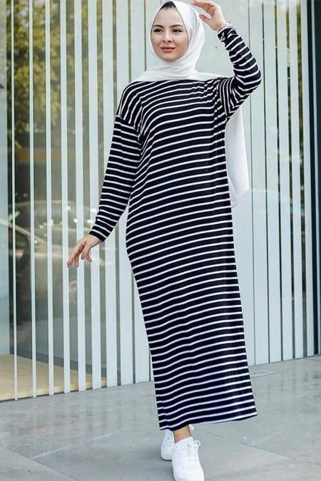 Stilmeba Lacivert Çizgili Pamuklu Elbise