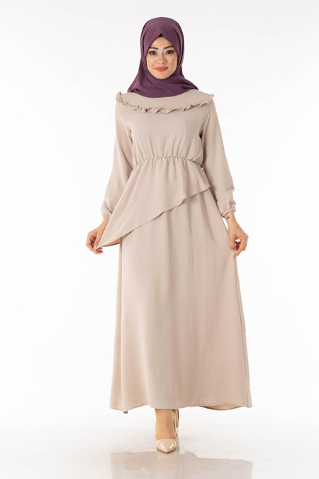 Taş Beli Volanlı Tesettür Elbise