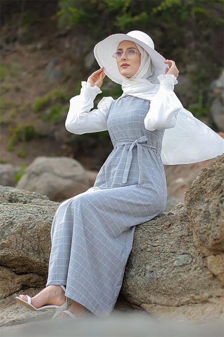 Tofisa Gri Tesettür Elbise