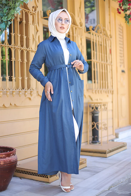 Tofisa Mavi Tesettür Cepli Elbise
