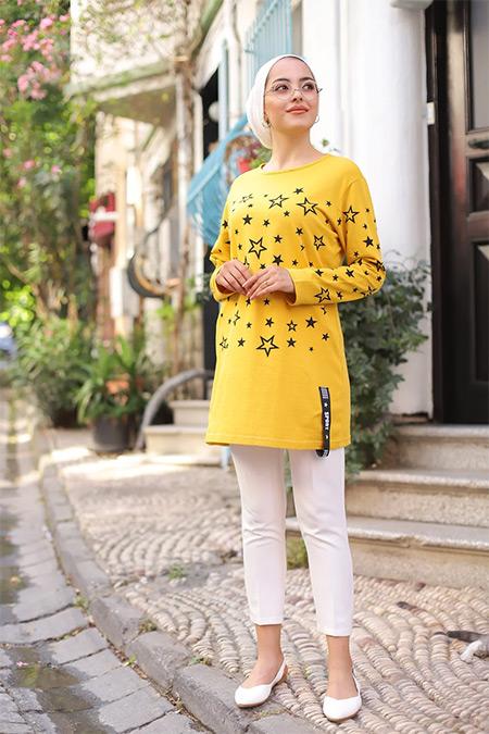 Tofisa Sarı Tesettür Yıldız Baskılı Tunik