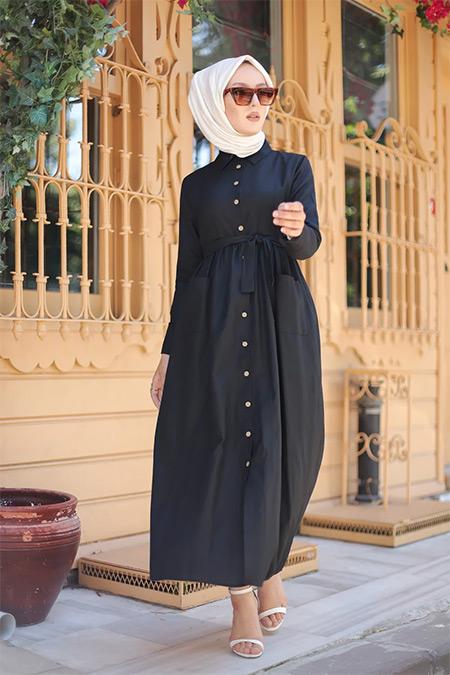 Tofisa Siyah Tesettür Cepli Elbise