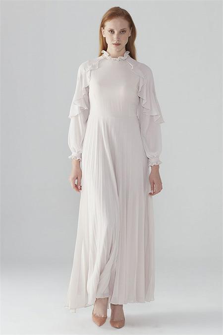 Zühre Bej Kol Volan Detaylı Elbise