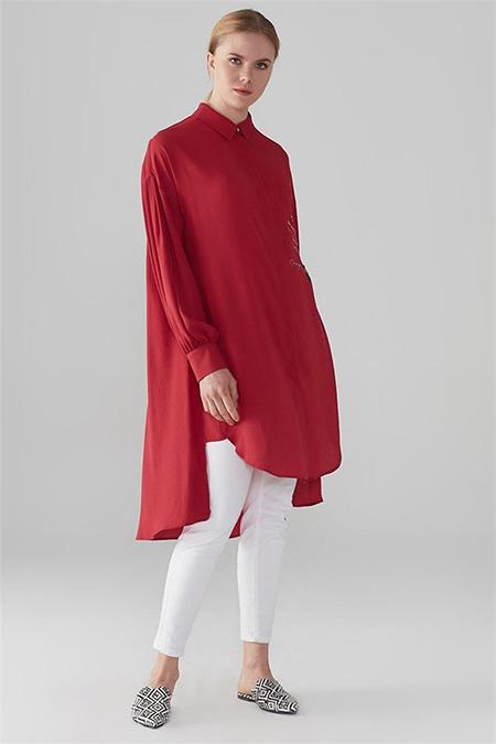 Zühre Kırmızı Baskı Detaylı Tunik