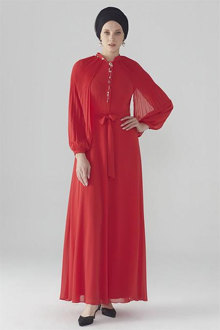 Zühre Kırmızı Kol Volan Detaylı Elbise