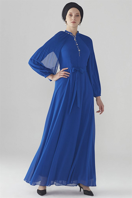 Zühre Saks Kol Volan Detaylı Elbise