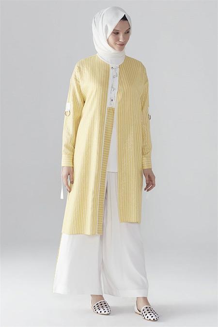 Zühre Sarı-Ekru Önü İşlemeli Pantolonlu Takım