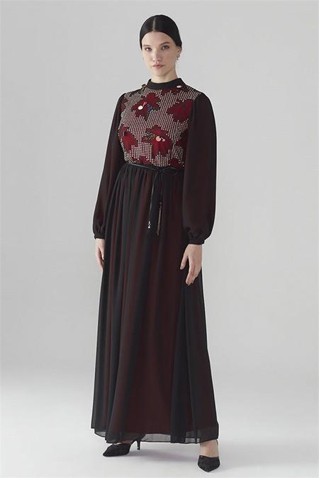 Zühre Siyah-Bordo Dantel Detaylı Elbise