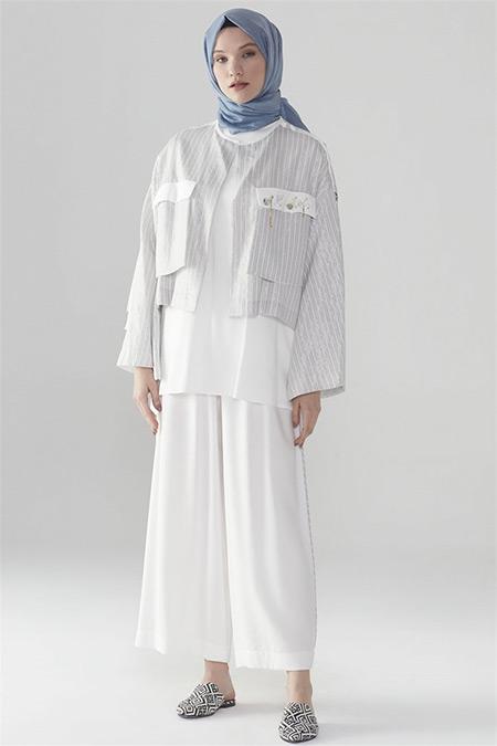 Zühre Gri-Ekru Ceket Pantolonlu Takım