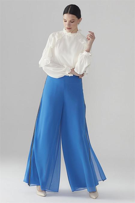 Zühre Saks Üst Şifon Detaylı Bol Kesim Pantolon