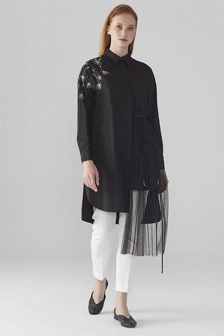 Zühre Siyah Nakış & Tül Detaylı Tunik