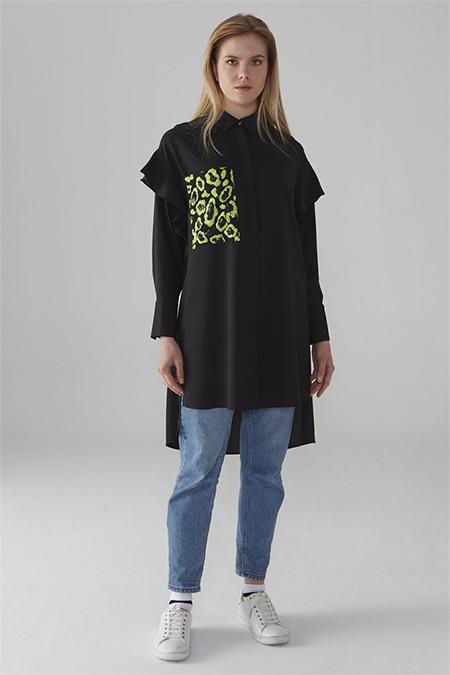 Zühre Siyah-Neon Yeşil Pul Payet Cepli Tunik