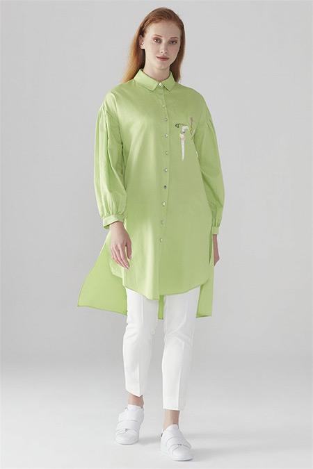 Zühre Yeşil Düğmeli & İşleme Detaylı Tunik